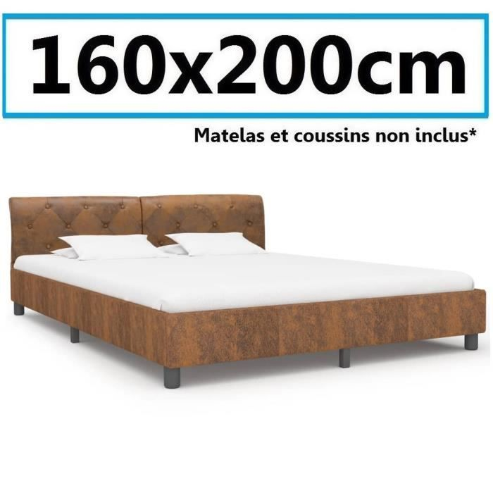 Lit Sommier 160x200cm daim cuir artificiel grand adulte Chambre invité design avec dossier Marron luxe style