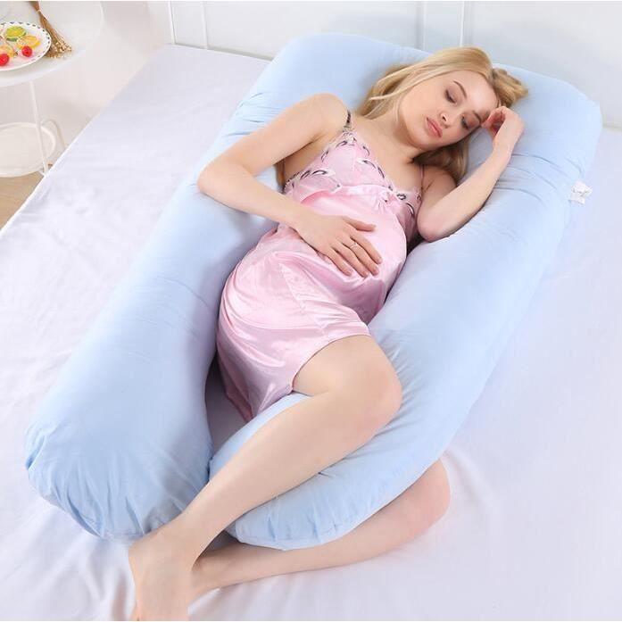 Coussin de grossesse Oreiller de maternité Coussin d'allaitement Coussin d'allaitement en Forme de U pour Le Corps Entier Bleu