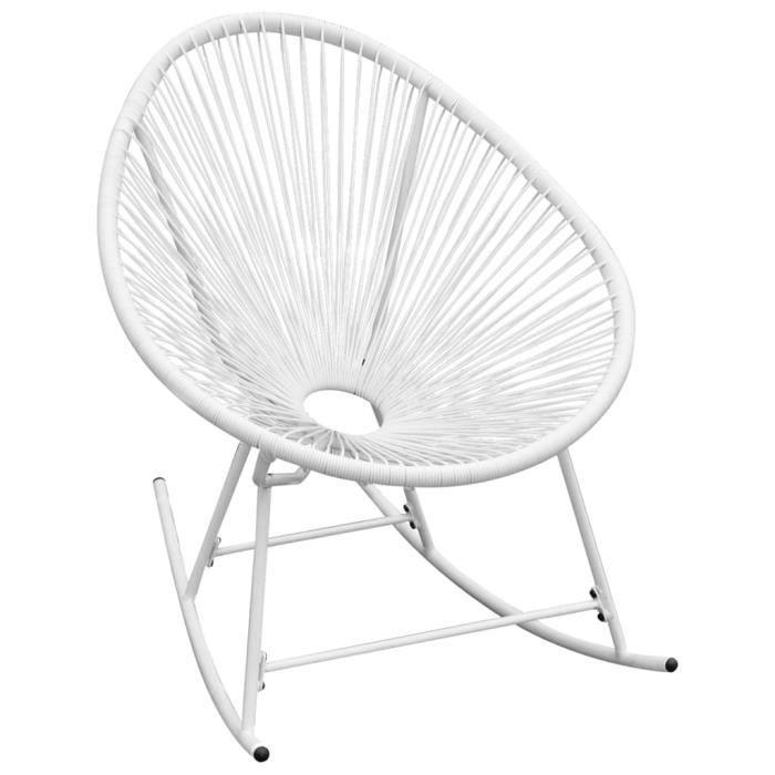 Economique Chaise à bascule Chaise de salon d'extérieur Haut de gamme Chaise de Jardin Blanc Résine tressée @301324