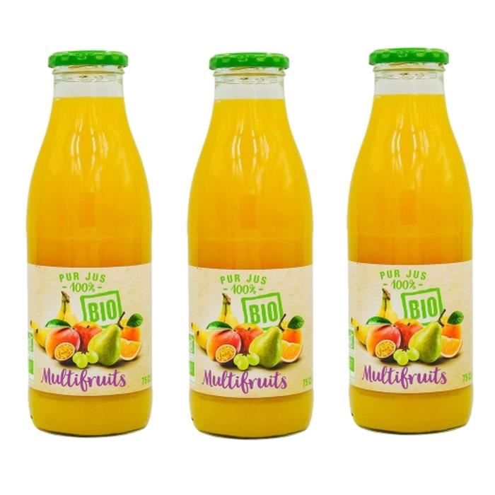 Lot 3x Pur jus multifruits BIO - bouteille 75cl