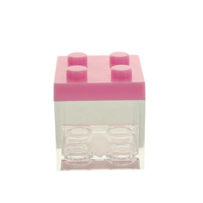 3 BOITES À DRAGÉES PLEXI LEGO ROSE Rose, fuchsia