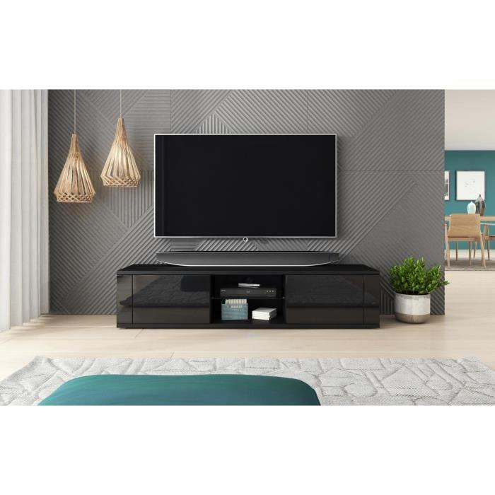 Décoro Meuble TV SWING style modern décor noir et noir brillant.