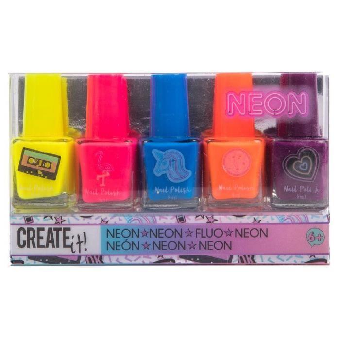 Create It! set de vernis à ongles Néon filles 6 cm verre 5 pièces