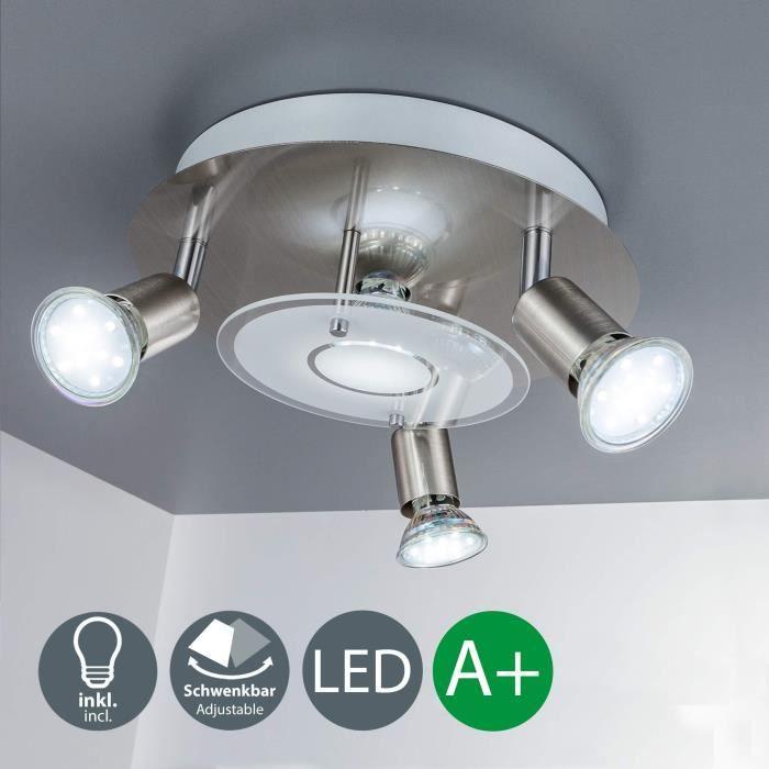 B.K. licht plafonnier LED, 4 spots x3W inclus, spots LED orientables, éclairage salon, salle à manger, cuisine, chambre, lumière
