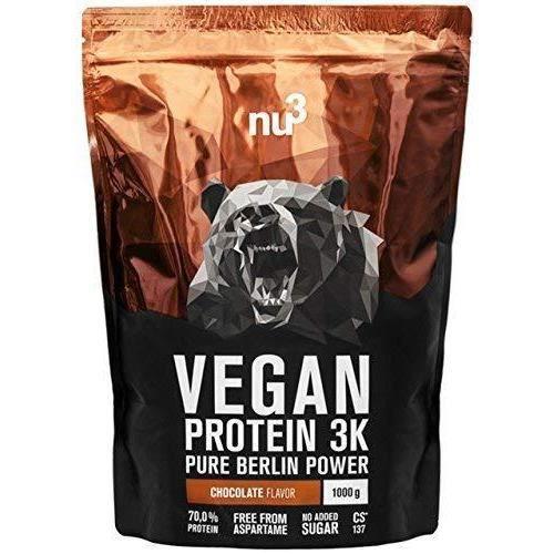 nu3 Protéines Vegan 3K 1kg - Chocolat - 71% de Protéines à base de 3 composants végétaux - Protéine végétale pour prise de masse