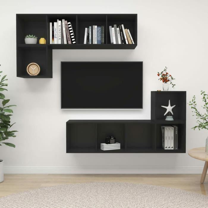 Ensemble de meuble TV 4 pcs Noir Aggloméré B