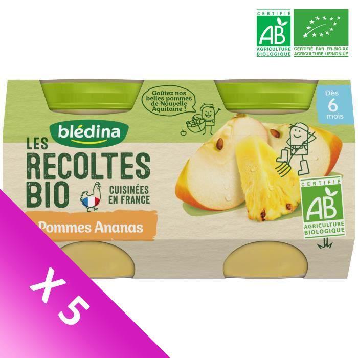 Blédina Les Récoltes Bio, Petits pots pour bébé bio - Dès 6 mois - Pommes Ananas - Lot de 5 x 260 g