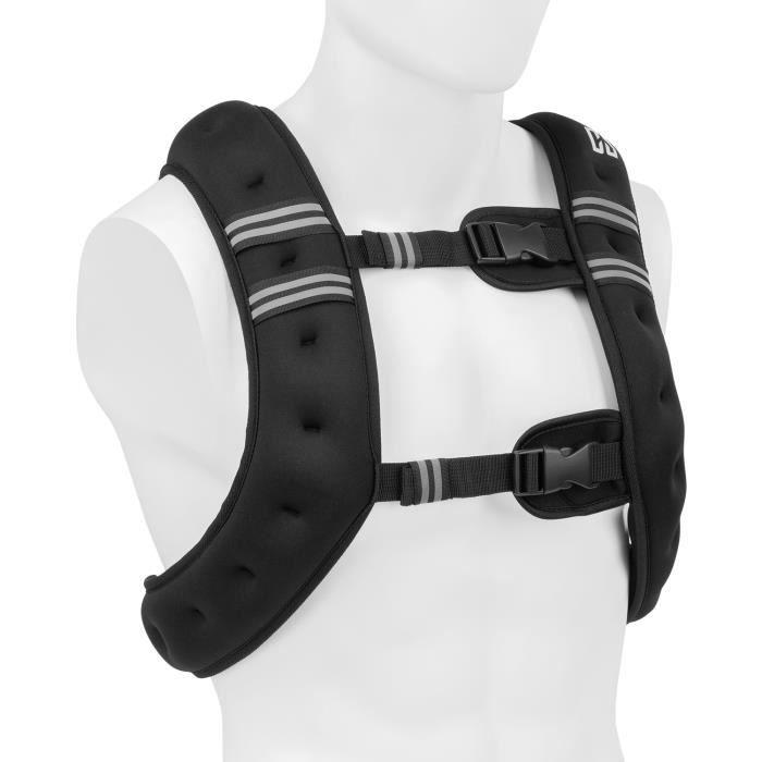 CAPITAL SPORTS X-Vest veste lestée de poids 10 kg - Sangle pectorale réglable - Toile nylon 1200 D & néoprène - Noir
