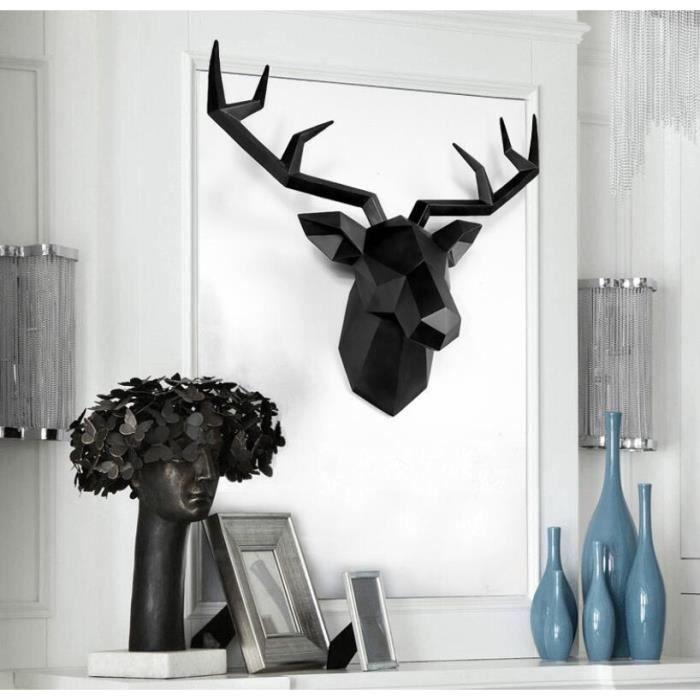 Accessoires de décoration de la maison Statue de tête de cerf 3D Noir