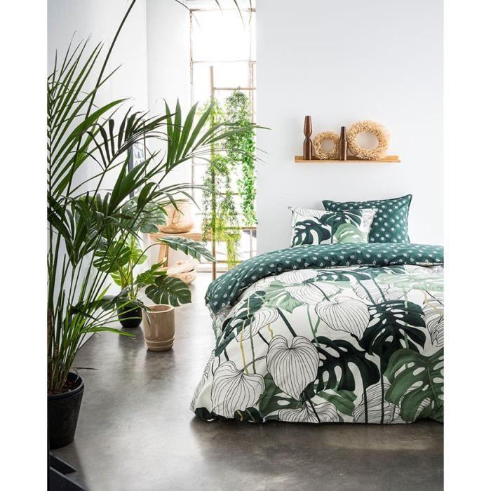 TODAY Parure de couette 220x240 + 2 taies d'oreiller 65x65 cm - 100% Coton - Vert Floral SUNSHINE 4.50 TODAY