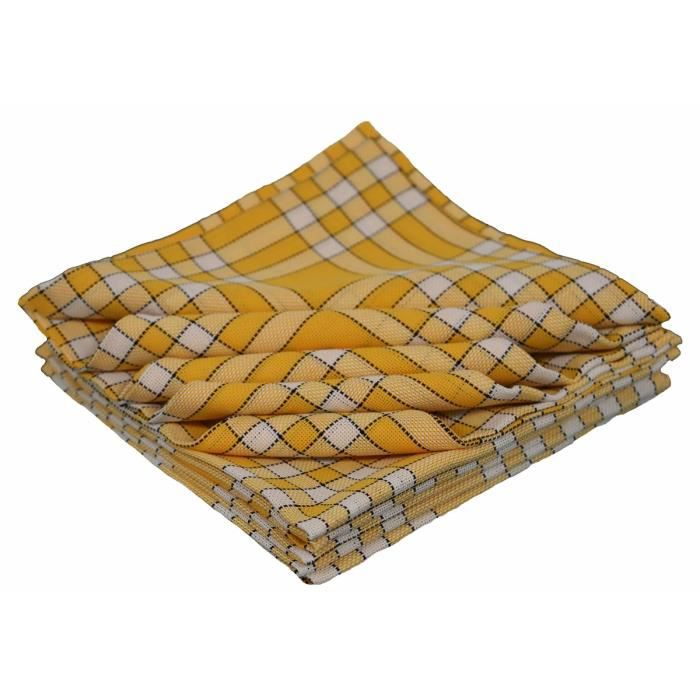LINANDELLE - Lot de 10 bavoirs enfant coton carreaux vichy Normand CLEAN KID - Jaune