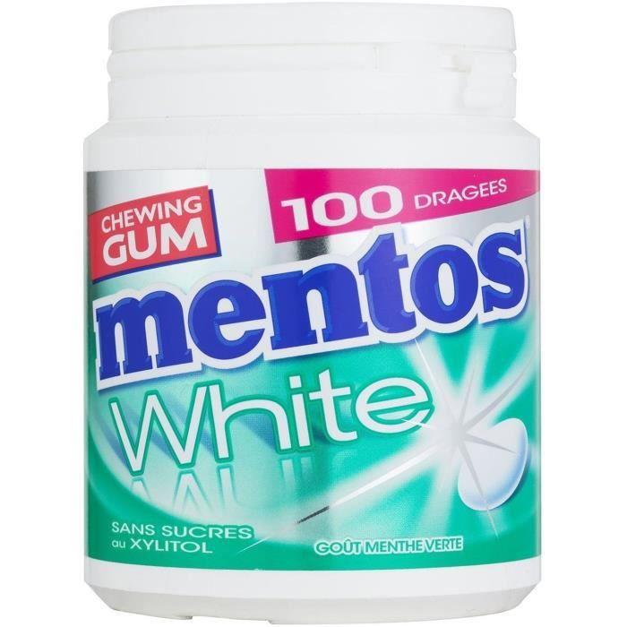 MENTOS GUM WHITE Bottle de 100 dragées sans sucres - Menthe verte