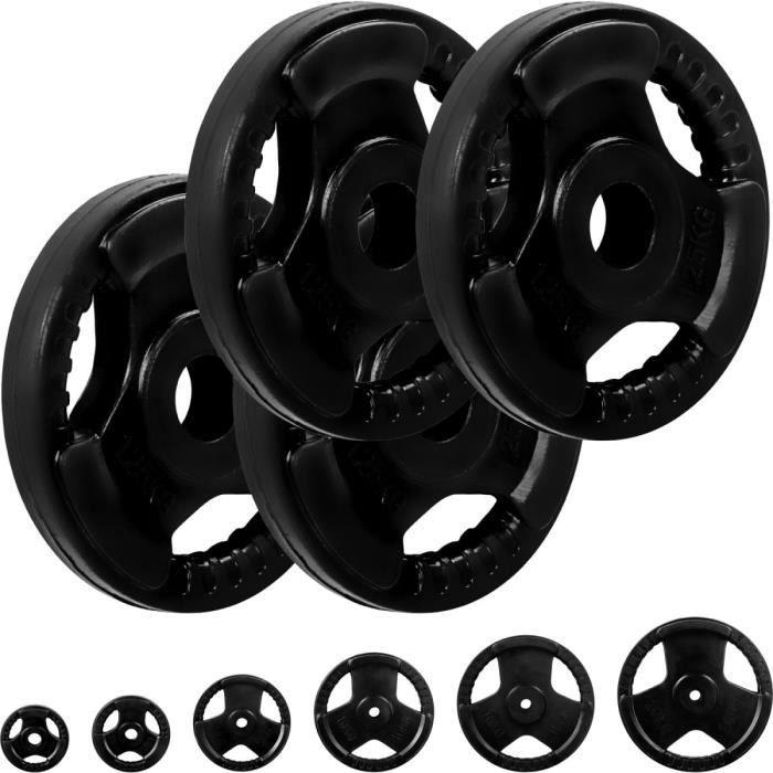 MOVIT® Poids grip en fonte revêtement caoutchouc, couleur noir 4x1,25 kg, diamètre d'alésage 31 mm