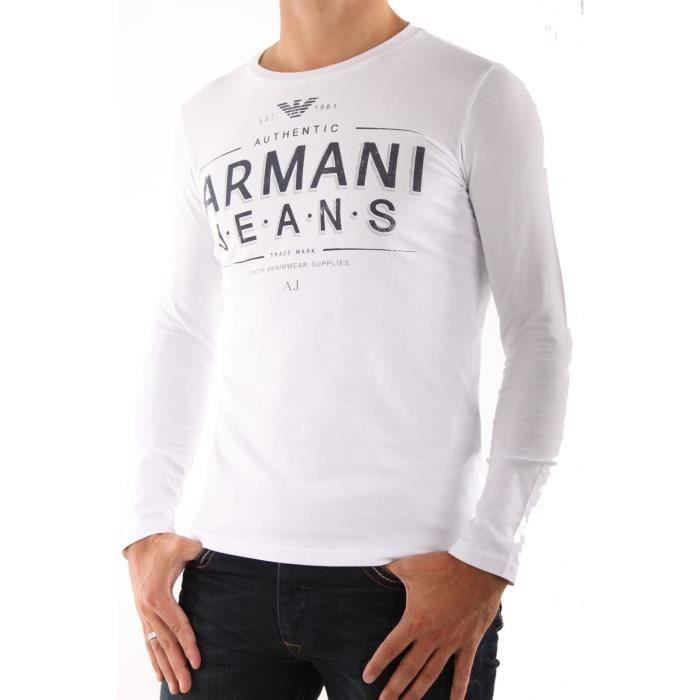T-Shirt Armani Jeans pour hommes manches longues blanc.