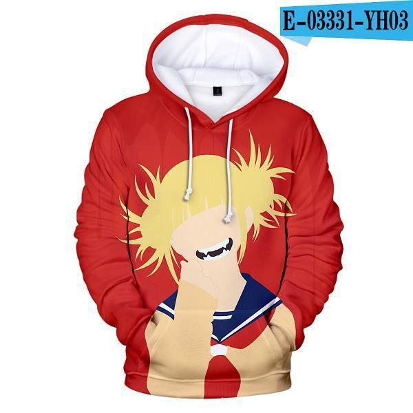 Dessin animé streetwear,Manteaux imprimés en 3D, Anime Himiko Toga, My Hero Academia, mignon, manteaux pour adolescentes, sweat à c