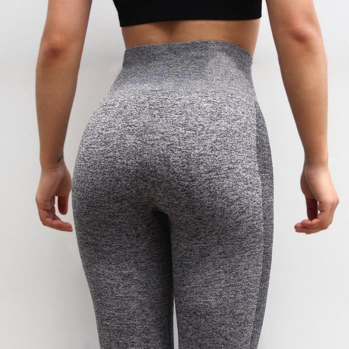 Pantalon de Sport,Collant tenue de Sport femme pantalon de Yoga de gymnastique tenue de Sport Legging pour Fitness - Type Grey