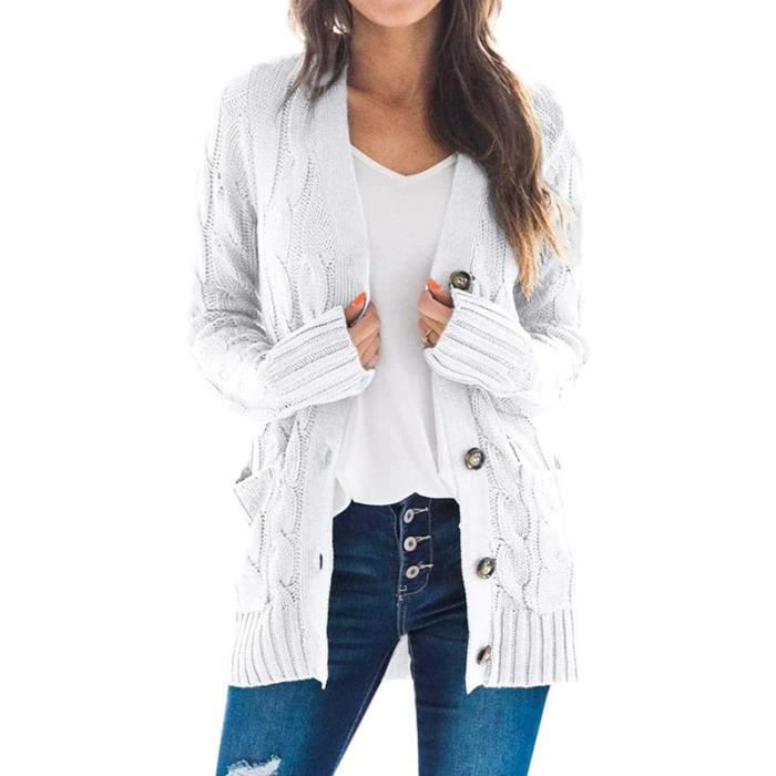Cardigan pour Femme Veste,Veste Cardigan Décontractée,Cardigan Gilet Femme Cardigan Tricot L-Blanc
