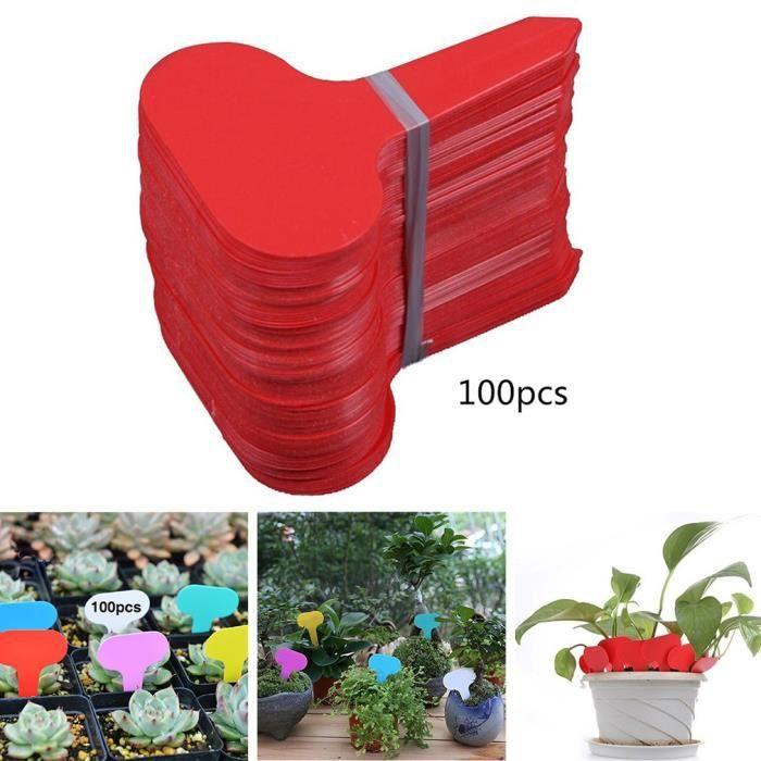 Lot de 100 Etiquettes de Plantes T-Type en Plastique pour Fleur Légumes Graine Jardin Pépinière - Rouge @avivaw
