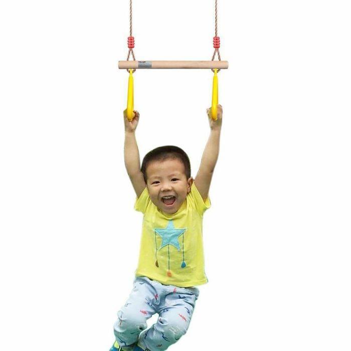 Multifonction enfants adultes balançoire trapèze swing ABS bâton en bois injection poignée de main anneau