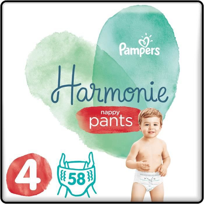 PAMPERS 58 Couches-Culottes Harmonie Nappy Pants Taille 4