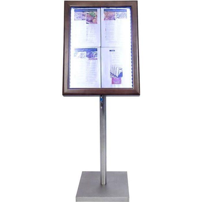 Porte-menu 4 x A4 Classic LED en bois aspect Wengé avec pied - Affichage menu hôtel restaurant 6,4 Bois Finition Wengé, Pied Acier