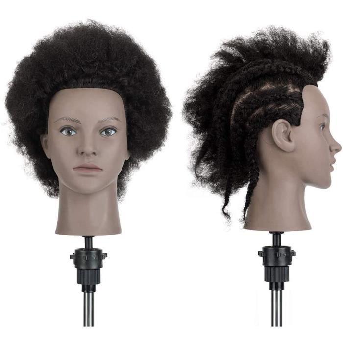 Tête À Coiffer Afro Neverland Beauty Têtes d'exercice Coiffure Cosmétologie Pratique Mannequin Poupée 100% Cheveux Humains+ Titulair