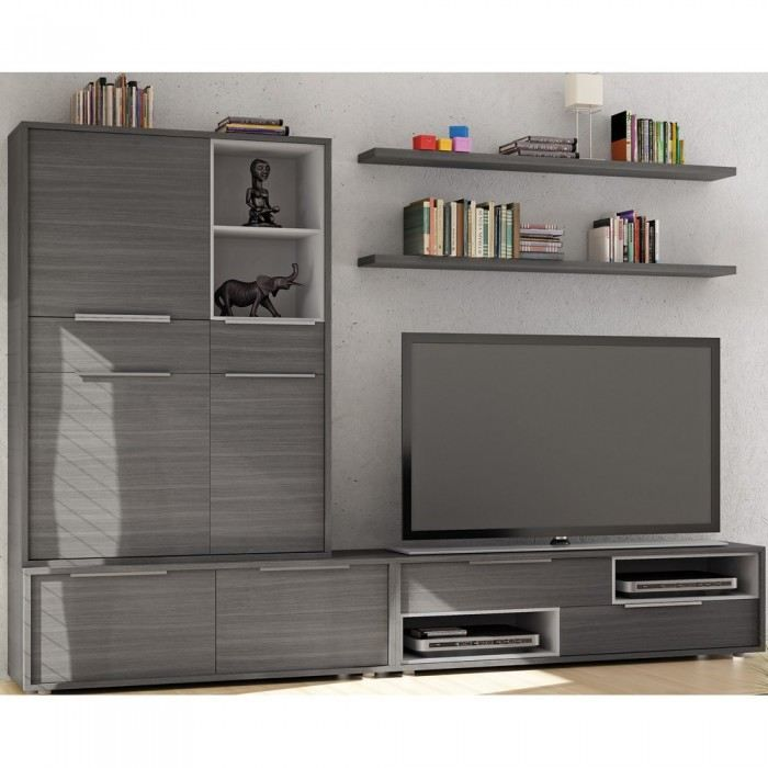meuble mural tv rosita couleur gris mati re mdf achat. Black Bedroom Furniture Sets. Home Design Ideas