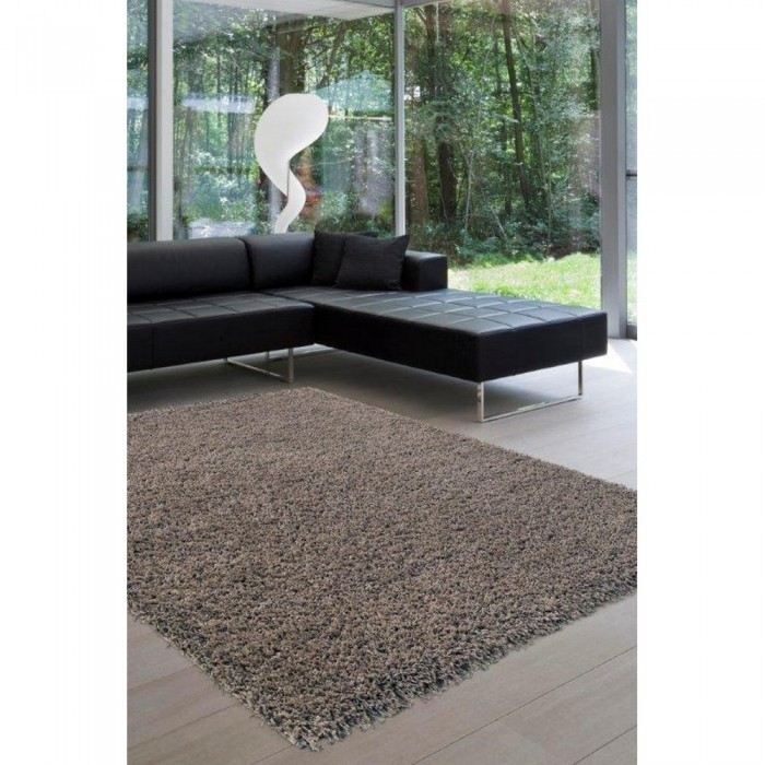 tapis shaggy taupe eshtar mati re polypropylene achat vente tapis cdiscount. Black Bedroom Furniture Sets. Home Design Ideas