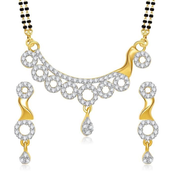 Womens galsutra Pendant Set With Earrings For Jewellery Set Gold Plated In Cz American Diamond Ms S1IAO