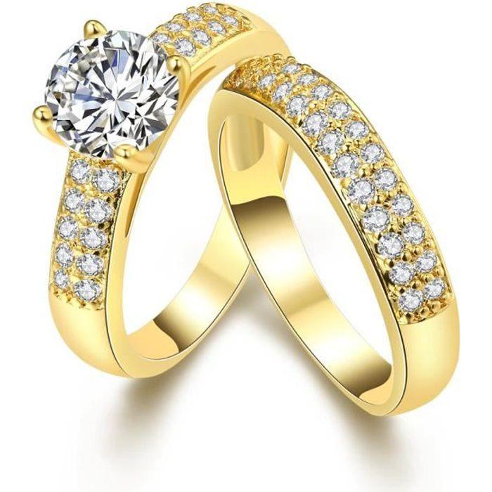 BAGUE - ANNEAU 2 pièces bague de mariage pour femmes en or jaune