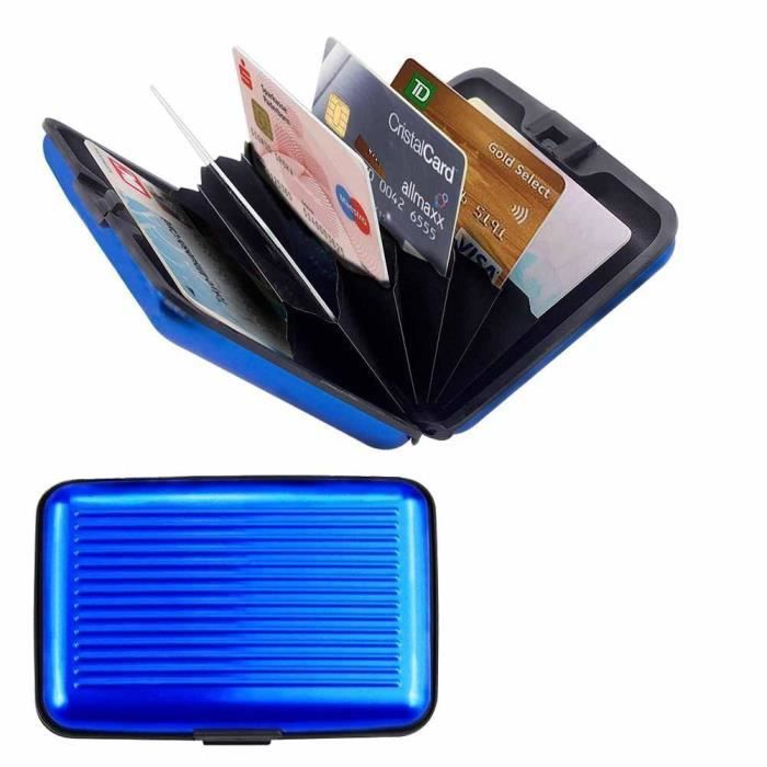 porte cartes bleu carte bleue cb visite aluminium rigide secutity credit card wallet holder. Black Bedroom Furniture Sets. Home Design Ideas