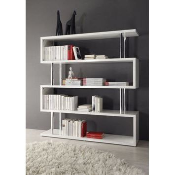 biblioth que design stylo coloris blanc laqu achat vente biblioth que biblioth que. Black Bedroom Furniture Sets. Home Design Ideas