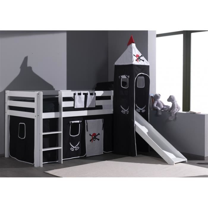 lit pirate festo7 en h tre blanc massif avec toboggan blanc r f rence lit festo7 coloris. Black Bedroom Furniture Sets. Home Design Ideas
