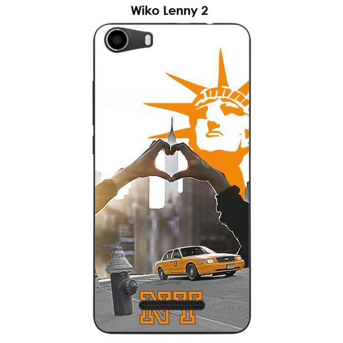 Coque Wiko Lenny 2 design New York - Taxi jaune &