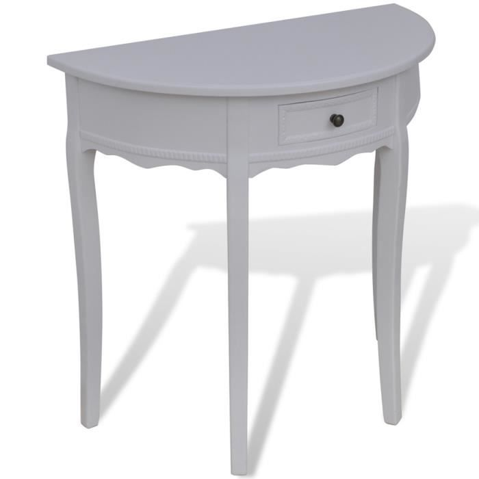 console demi ronde blanche avec tiroir achat vente table basse console demi ronde blanche. Black Bedroom Furniture Sets. Home Design Ideas