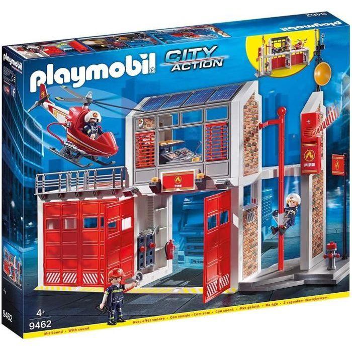 Photo de playmobil-9462-city-action-caserne-de-pompiers-avec-helicoptere