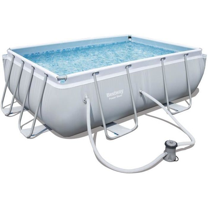 Bestway kit piscine power steel frame pools rectangulaire for Bestway piscine