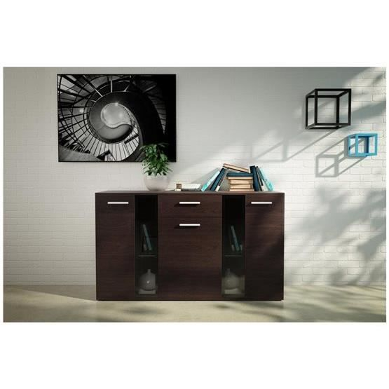 commode de salon design cevat bois fonc achat vente. Black Bedroom Furniture Sets. Home Design Ideas