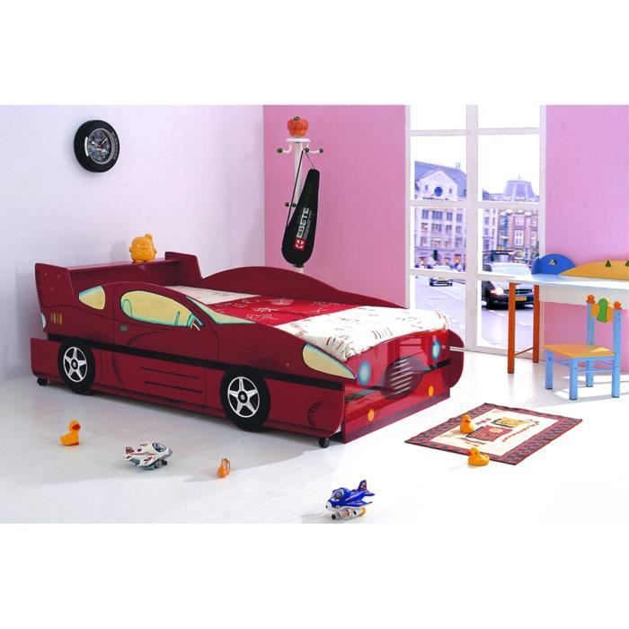 lit gigogne lit enfant 90x190 voiture gigogne en mdf rouge. Black Bedroom Furniture Sets. Home Design Ideas
