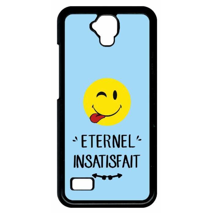 Coque huawei y560 eternel insatisfait smiley tire la langue fond bleu