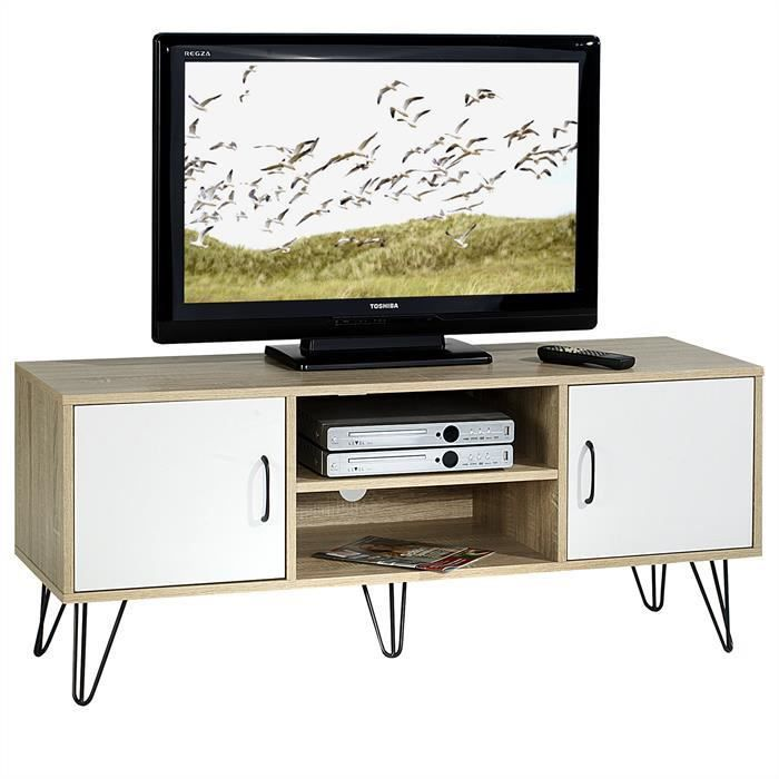 meuble tv eva blanc et ch ne sonoma achat vente meuble tv dimensions l x h x p 120 x. Black Bedroom Furniture Sets. Home Design Ideas