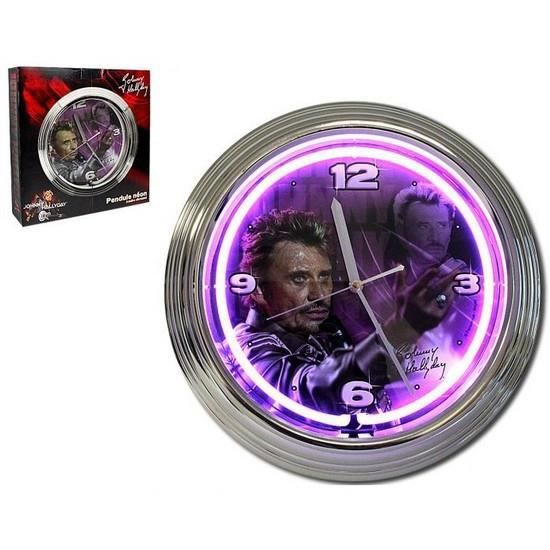 horloge murale n on johnny hallyday violet achat vente horloge plastique cdiscount. Black Bedroom Furniture Sets. Home Design Ideas