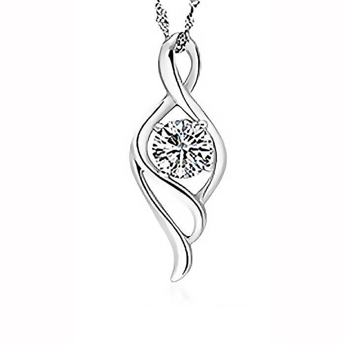 cristal transparent coeur Collier pendentif chaîne argent 925 bijou joaillerie
