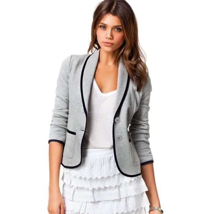 blazer femme gris achat vente blazer femme gris pas cher cdiscount. Black Bedroom Furniture Sets. Home Design Ideas