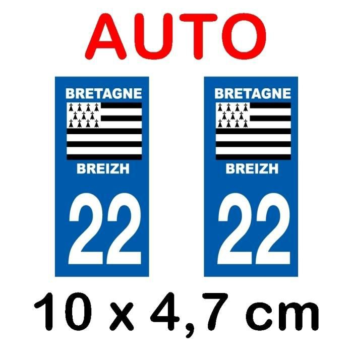 Autocollant Moto immatriculation 22 C/ôtes dArmor