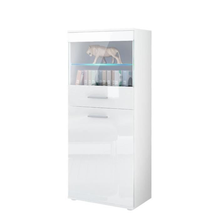 vitrine blanc laque achat vente vitrine blanc laque pas cher cdiscount. Black Bedroom Furniture Sets. Home Design Ideas