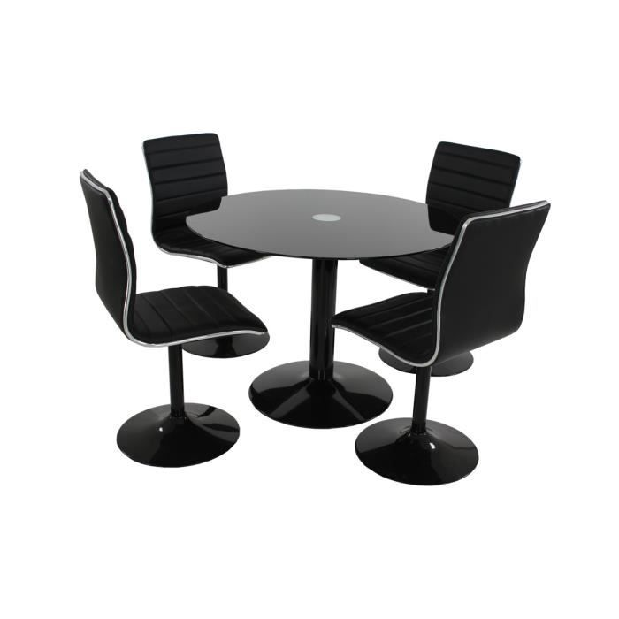 Table 4 chaises laqu noir aniston achat vente for Table ronde 4 chaises