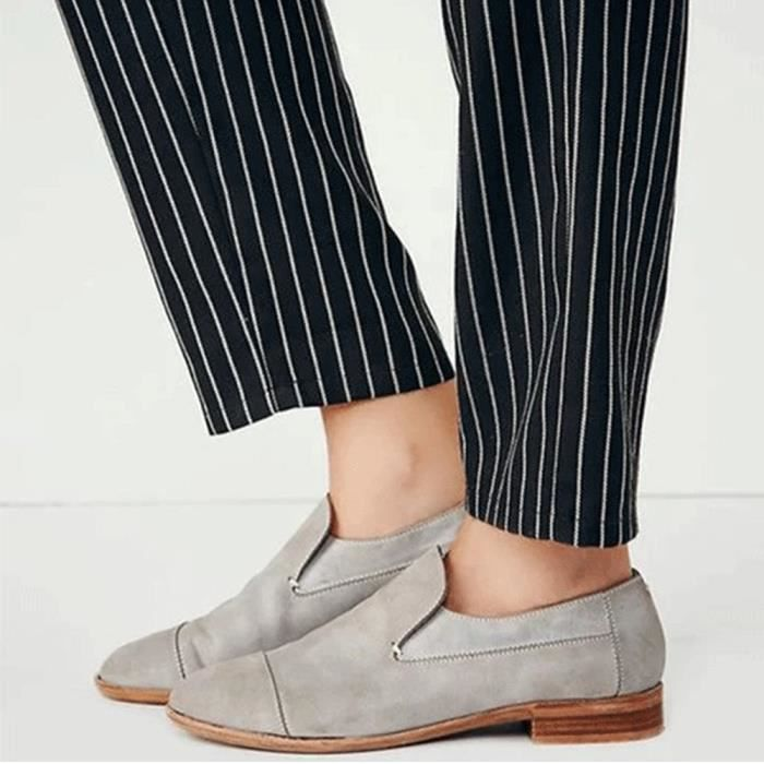 Femmes Vintage Round Toe Shoes en cuir bottillons Slip-On place chaussures à talons simples veberge@1202