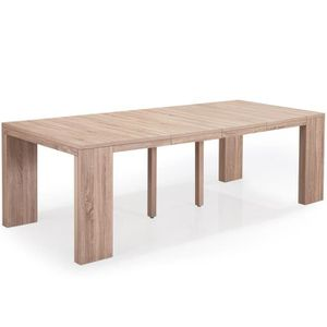 Table Console Extensible Chay Chêne Clair: Table Extensible 14 Personnes