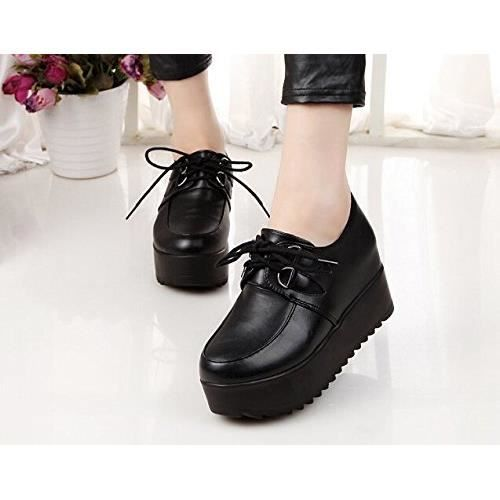 Minetom Femme Lace Up Bottines Chaussures Retro Style Britannique Plate-forme Punk Goth
